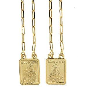 Escapulário de Nossa Senhora do Carmo e Sagrado Coração de Jesus com Detalhe Desenhado Folheado a Ouro 18K Blivejoias