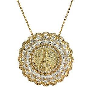 Colar de Prata com Medalha de Nossa Senhora da Conceição Aparecida Cravejado com Zircônias Brancas Folheado a Ouro 18K Blivejoias
