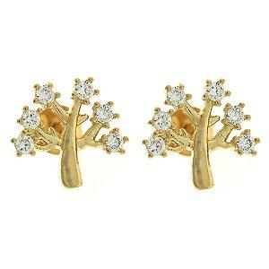 Brinco Árvore da Vida Cravejado de Zircônias Brancas Folheado a Ouro 18K Blivejoias