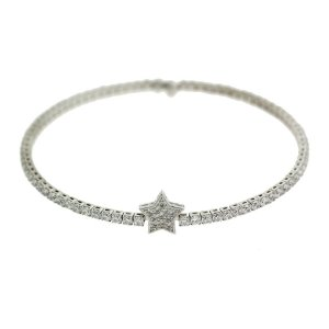 Bracelete de Prata com Estrela Cravejado com Zircônias Brancas Blivejoias