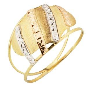 Anel em Ouro Amarelo 18k Tricolor, branco e rosé, aro duplo vazado PC4.19
