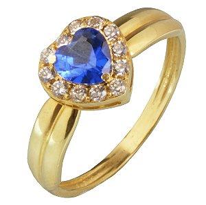 Anel em Ouro Amarelo 18k aro liso riscado topo de coração com zircônias brancas e azul PC 5.87