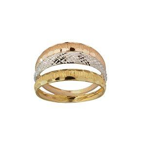 Anel em Ouro Amarelo 18k tricolor com aro triplo vazado diamantado PC4.05