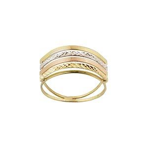 Anel em Ouro Amarelo 18k tricolor aro duplo vazado diamantado PC4.22
