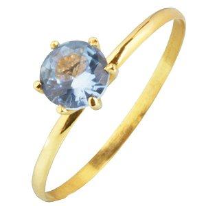 Anel em Ouro Amarelo 18k amarelo com pedra de zircônia azul claro PC1.76