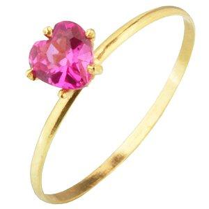Anel em Ouro Amarelo 18k com pedra de zircônia rosa PC1.76