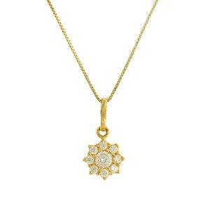 Pingente em ouro amarelo 18k redondo todo cravejado de zircônia branca pequeno tamanho: 0,7x0,7cm PC 2.59