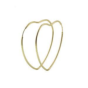 Brinco em ouro amarelo 18k argola grande lisa coração fio fino redondo sem pedra PC 2.86