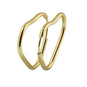 Brinco em ouro amarelo 18k argola pequna lisa coração fio fino redondo sem pedra PC 1.18