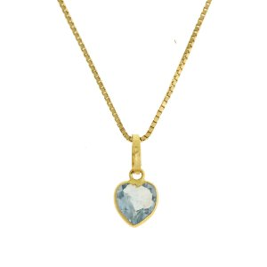 Pingente ponto de luz mini em au 18k amarelo, liso, zircônia branca ou azul em forma de coração. Tamanho: 6mm PC 0.60