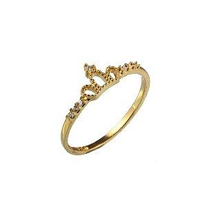 Anel coroa em ouro amarelo 18k com zirconias na lateral PC 3.45