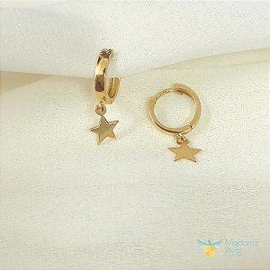 Brinco de argola com pingente de estrela em ouro amarelo 18k PC 3.61