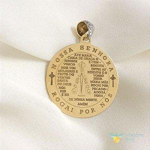 Medalha Nossa Senhora Aparecida com brilhantes esmaltado em ouro amarelo 18k PC 13.31