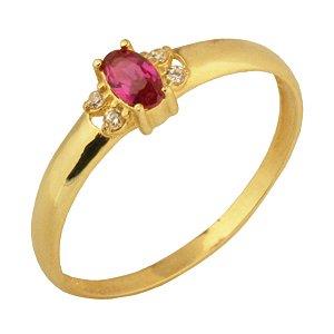 Anel formatura com zirconia rosa em ouro amarelo 18k PC 5.00