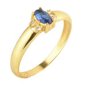 Anel formatura com zirconia azul em ouro amarelo 18k PC 5.00