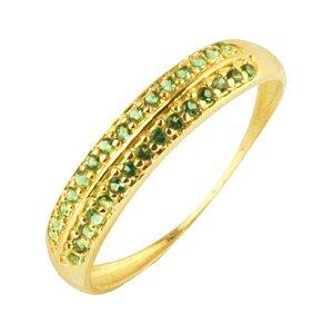 Anel meia aliança com zirconias verde em ouro amarelo 18k PC 4.31