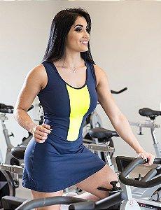 Vestido Fitness Zíper - Azul e Verde