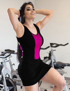 Vestido Fitness Zíper - Preto e Rosa