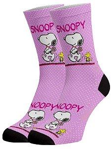 Snoopy rosa meias divertidas e coloridas