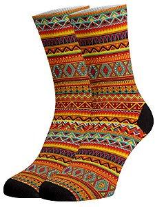 Asteca meias divertidas e coloridas