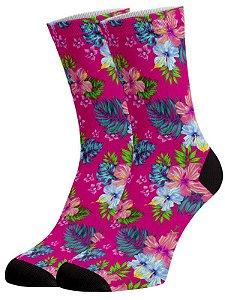 Flores Rosa meias divertidas e coloridas