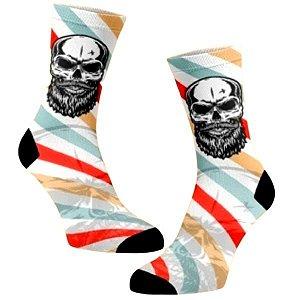 Caveira Barber meias divertidas e coloridas