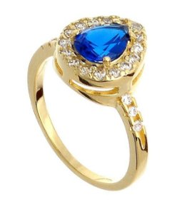 Anel Solitário Azul