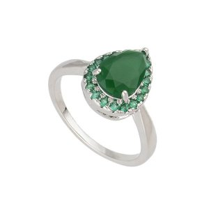Anel Solitário Ródio Branco Pedras Verdes