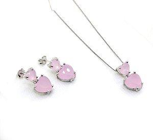 Conjunto Ródio Branco Coração Rosa