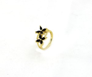 Anel Folheadoa Ouro Flores- Preto