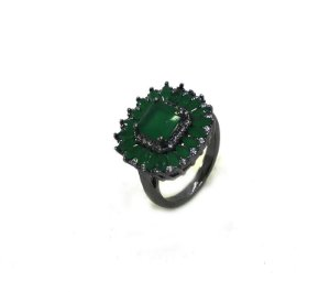 Anel Ródio Negro - Verde Esmeralda