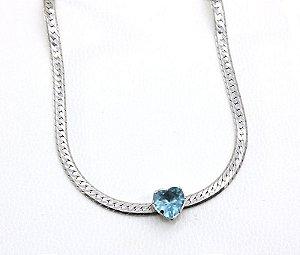 Choker Ródio Branco Coração Azul