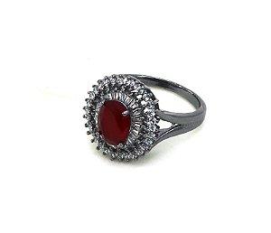 Anel Ródio Negro Pedra Vermelho Rubi e Zircônias