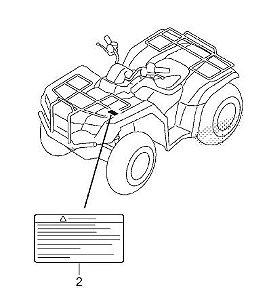 Adesivo de Alerta Bagageiro dianteiro - Honda Fourtrax 420 2008 à 2018