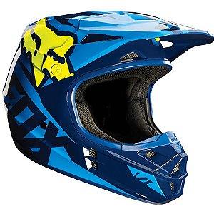 Capacete FOX V1 Race - Azul/amarelo