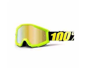 Óculos 100%  Lente Espelhada  -  Amarelo Neon