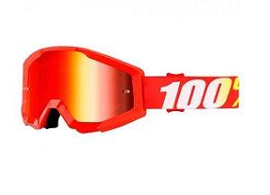 Óculos 100%  Lente Espelhada  -  Vermelho
