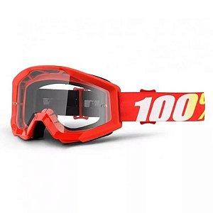 Óculos 100%  Lente Transparente  -  Vermelho