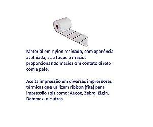 Etiqueta Nylon Resinado p/ Composição de Roupas, Confecção, Artigos Textil  -  35x55mm (LxA) 3 colunas - Branco.