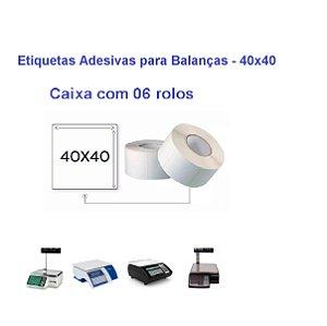 06 Rolos Etiquetas Adesivas Térmicas para Balanças - 40x40mm