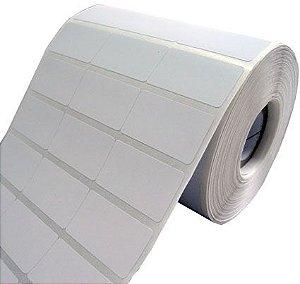 10 Rolos de Etiqueta Adesiva Couche 34x23mm Branca 3 colunas