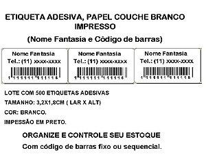 Etiquetas Adesiva Personalizada Impressas Código de Barras ou Sequencial - com 500 Etiquetas