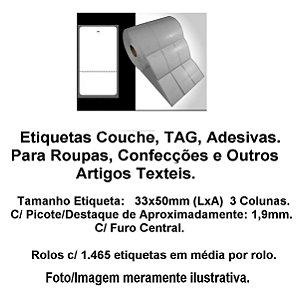 Etiqueta Adesiva, TAG , 33x50mm c/ 03 Colunas e Picote - p/ Roupas, Confeçção, Artesanatos, Artigo Textil e Outros, p/ Impressoras Zebra, Argox, Elgin, etc.
