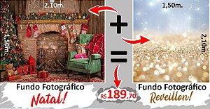Fundo Fotografico de Natal e Reveillon Juntos.