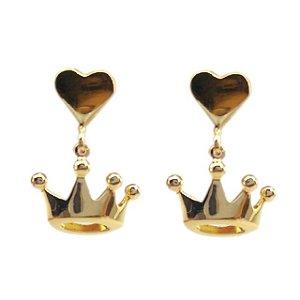Brinco Infantil Princesa - Prata Banhado a Ouro 18K  - Aureca