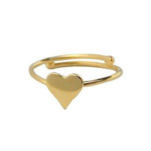 Anel Infantil Coração - Prata Banhado a Ouro 18K - Regulável - Aureca