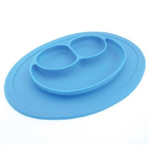 Prato de silicone carinha Azul