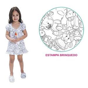 Camisola de pintar Feminino Verão com manga boneca e estampa Brinquedo