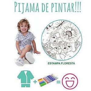 Pijama de pintar Masculino Verão com decote V e estampa Floresta