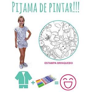 Pijama de pintar Feminino Verão com estampa Brinquedo